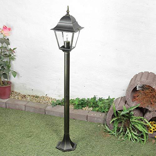 *Rustikale Standleuchte antikgold inkl. 1x 12W E27 LED Stehleuchte aus Aluminium Glas Stehlampe für Garten Terrasse Weg Lampe Leuchten Beleuchtung außen*