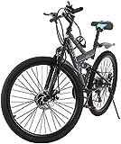 LONGTING Mountain Bike for Men Women, 26in Carbon Steel 21 Speed Bicycle Folding Bikes (Black, 26in)