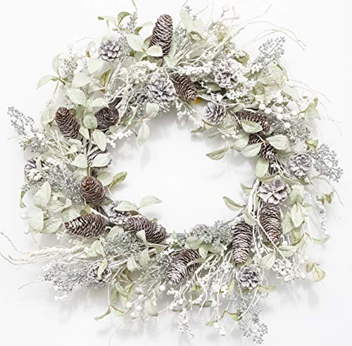 Huashen Christmas Birch Wreath White Berry Wreath with Iced Pine Cones, Holly Leaf, Branch White Winter Wreath for Front Door or Indoor Home Wall Window Décor