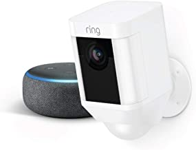 Ring Spotlight Cam Battery (White) with Echo Dot (Charcoal)