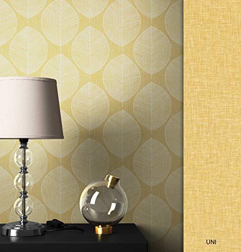 NEWROOM Tapete gelb Floral Blätter Retro Papiertapete Papier moderne Design Optik Tapete Geometrisch Natur inkl. Tapezier Ratgeber