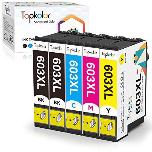 Topkolor 603XL Cartuchos de Tinta para Epson 603 XL Multipack Compatible con Epson Expression Home XP-2100 XP-3100 XP-4100 XP-2105 XP-4105 Workforce WF-2810 WF-2830 WF-2835 WF-2850