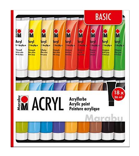 Marabu 1210000000201 - Acrylfarben Set Basic, mit 18 x 36 ml Farbe, auf Wasserbasis, für viele Untergründe geeignet, schnell trocknend, wasserfest und lichtecht