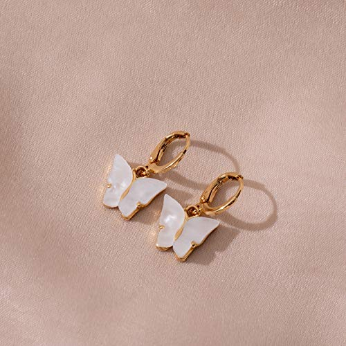 TGHYB Lange Ohrringe, Vintage Goldene Scharnier Weißen Schmetterling Acryl Party Charme Elegante Dangle Anhänger Ring Ohrringe Für Frauen Damen Mädchen Geschenke