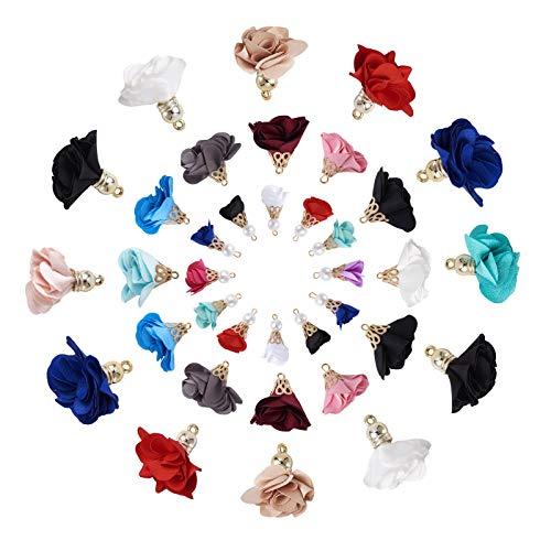 84 ciondoli a forma di fiore in tessuto 3 stili con tappo in metallo floreale petalo nappa colori misti per la creazione di gioielli fai da te
