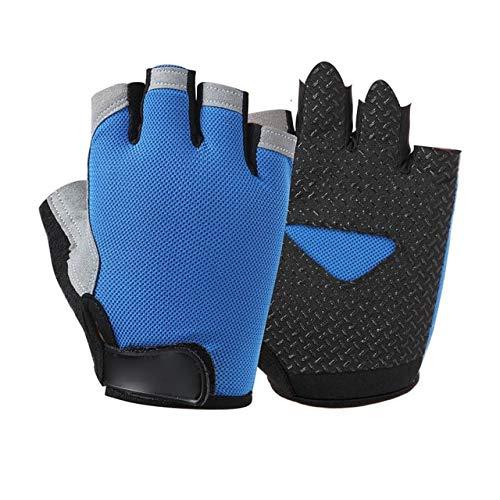 Bruce Dillon Spring Half Finger Outdoor Sports Riding Men Women Fitness Gloves Non-Slip Fingerless Breathable Protective Sunscreen Gloves - Blue X M