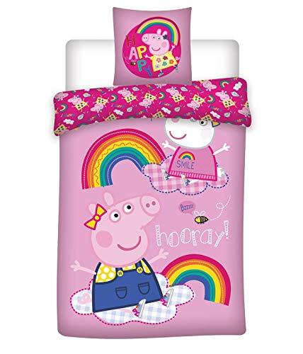 rainbowFUN.de Peppa Pig Kinder-Bettwäsche Bettbezug 135x200 Baumwolle Mädchen Peppa Wutz