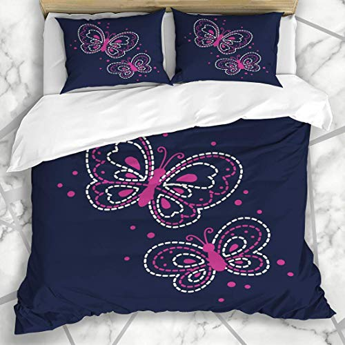 Jojun Duvet Cover Sets Butterfly Yellow Flower Cute Pattern Girl Floral Baby Ditsy Denim Design Stitching Microfiber Bedding with 2 Pillow Shams Easy Care Anti-Allergic Soft Smooth