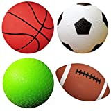 AppleRound Pack of 4 Sports Balls with 1 Pump: 1 Each of 5\