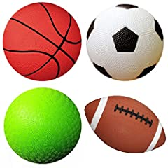 """Pack of 4 Sports Balls with 1 Pump: 1 each of 5"""" Soccer Ball, 5"""" Basketball, 5"""" Playground Ball, and 6.5"""" Football. Small size for small hands. Ball weight of each is 120 grams. Balls are soft to catch and easy to grip, perfect for age group of 3 to ..."""