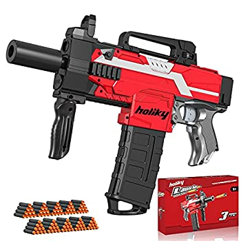 Holiky Automatic Toy Gun for Nerf Gun Bullets 3 Burst Modes Toy Foam Blasters & Guns with 100pcs Soft Darts Electric DIY Toy Guns for 6 7 8 9 10 Years Old Boys Ideal Gun Toys Gifts for Kids Teens