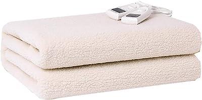 高級大型電気毛布フリース、180 * 150CM電気温水毛布、5つのコンフォートモード、2つのコントローラマシンウォッシャブル,白