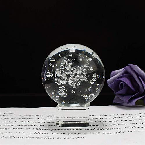 RIMEI Wohndekorationen. 60 / 80MM Klar glänzende Blasen Kristallkugel Feng Shui Magische Glaskugel Kugel Miniatur Home Decoration (Color : with Crystal Base, Size : 60mm)