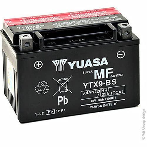 Yuasa YTX9-BS Wartungsfreie Batterie, 12V, 150mm x 87mm x 105mm