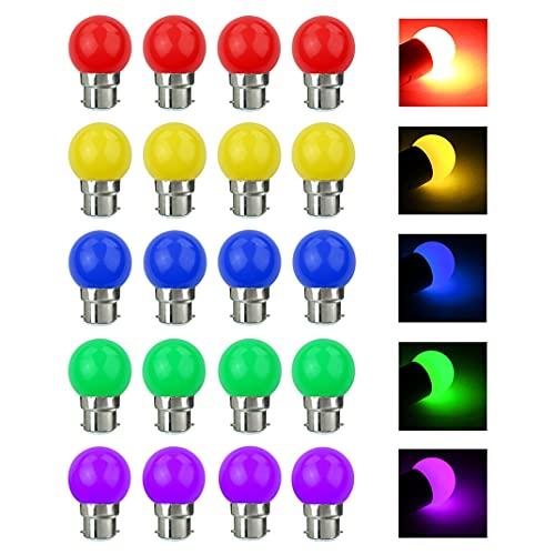 V-TOO Ampoule LED Couleur B22 3W équivalente 30W 240LM AC 220V-240V B22 Baïonnette Ampoules Guirlande Couleur LED Ampoules Multicolore pour Maison Bar Fête Décoration d'ambiance - Lot de 20