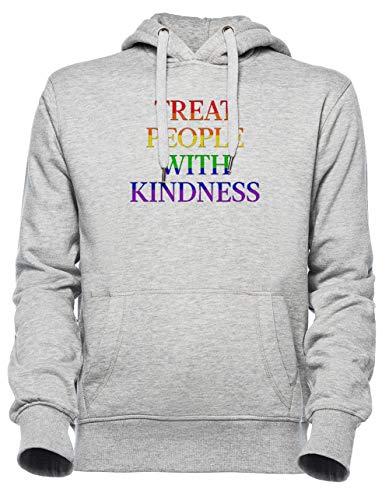 Luxogo Treat People with Kindness - Pride Unisex Grau Jumper Kapuzenpullover Herren Damen Unisex Grey Hoodie Men's Women's