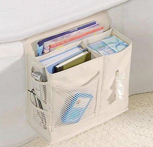 Milopon Betttasche Bettablage Sofa Aufbewahrungstasche Bett Organizer aus 600D Oxford Tuch hängende Aufbewahrungstasche für Buch Kleinteile Zeitschriften Handy Tissue Holder Windeln (Beige)