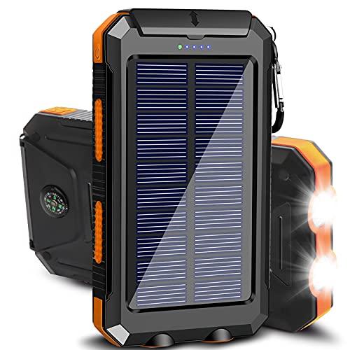 Solar Charger 20000mAh Portable Outdoor Waterproof Solar Power Bank, Camping External Backup Battery...