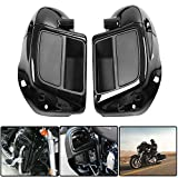 Vivid Black Lower Vented Leg Fairing Speaker Box Pods Fits for Harley-Davidson Touring Road King, Street Glide, Road Glide, Electra Glide, org equipment on FLHTCU 2014-2020 (Black)