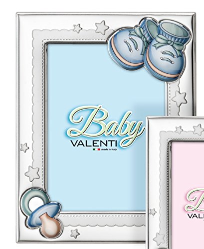 Cadre Valenti & Co. Bimbo B1358 9 x 13 ou 13 x 18 en laminé argent PVD 13x18 cm bleu ciel