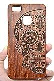 PhantomSky Huawei P9 Lite Funda de Madera, [Serie de Lujo] Natural Hecha a Mano de Bambú/Madera Carcasa Case Cover para tu Smartphone - Cráneo Madera Rosa(Rose Wood Skull)