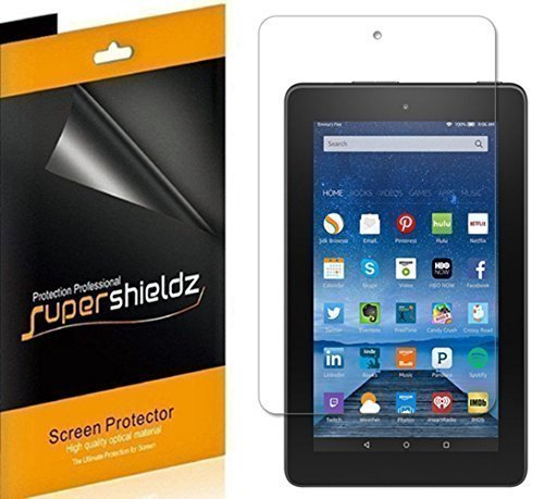 (3 Pack) Supershieldz Designed for Fire 7 inch Tablet (5th Generation 2015 Release) Screen Protector, High Definition Clear Shield (PET)