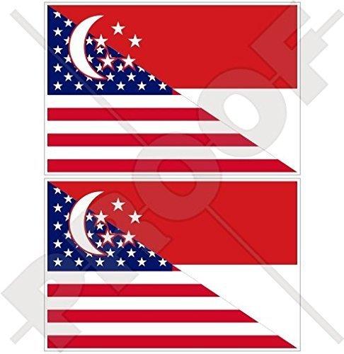 USA Vereinigte Staaten von Amerika und SINGAPUR, Amerikanisch und Singapurische Flagge, Fahne 75mm Auto & Motorrad Aufkleber, x2 Vinyl Stickers