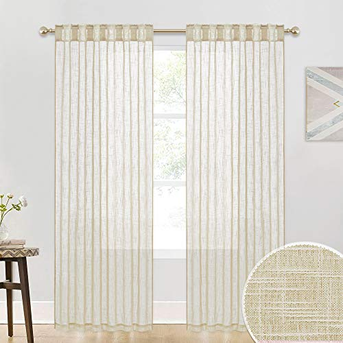 Semi Sheer Curtains for Bedroom - Linen Texture Wave Material Privacy Voile for Home Theater Backdrop Block Sunlight Exposure for Sunroom Balcony Terrace, Warm Beige, Wide 52 x Long 90, Set of 2