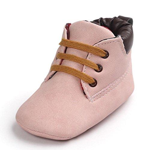 Babyschuhe Lederschuhe Neugeborenen Lauflernschuhe Baby Mädchen Krippeschuhe Krabbelschuhe rutschfest Weiche Schuhe Sternchen Schuhe Wanderschuhe Krabbelschuhe LMMVP (Rosa, 12CM(6~12 Month))