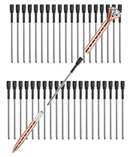 Pen Refills Pack of 40 Replacement Ballpoint 3.2'' inch for Pens with Big Diamond Crystal on Top Diamond Crystal Stylus Pens Metal Refill in Storage Case Medium (Black)