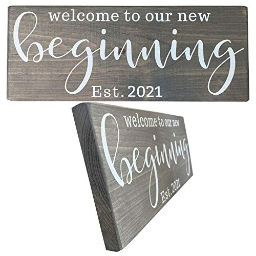 Let the Fun Begin Mr and Mrs Signs for Wedding Gift, Beginning 2021 Sign for Couples Bridal Shower Gifts (Beginning 2021 Grey with White)
