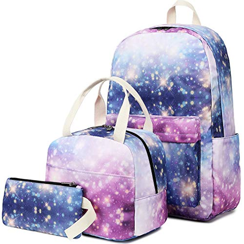 CAMTOP Backpack for Girls Teens School Bookbags Cute Kids Backpacks (Galaxy-Purple Pink)