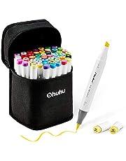 Ohuhu Set van 48 kleurrijke markers met dubbele punt, penseel en beitelschaar voor kinderen, kunstenaars, studenten, schetsborstel voor volwassenen, kalligrafie