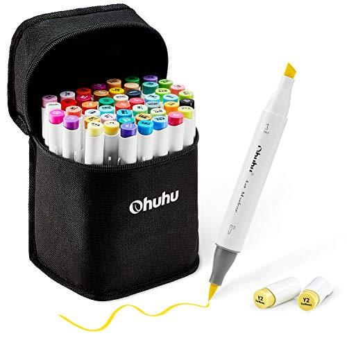 Pinsel Marker Stift mit 48 Farben von Ohuhu, doppelseitige Farbspitze - grober Brush Marker für Entwürfe und Comics, feiner Pinsel zum Skizzieren, Kalligraphieren, Zeichnen und Illustrieren