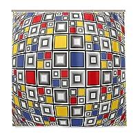 KAPANOU防水 シャワーカーテン 幾何学的な色のモザイクスクエアプリント かわいいシャワーカーテン ユニットバス バスルーム 芸術の装飾 180cmx180cm バスフック付き 取り付け簡単