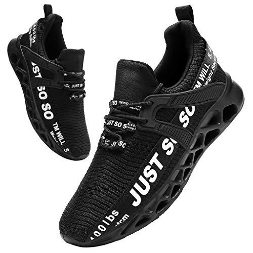 Tvtaop Mens Runing Shoes Walking Non Slip Blade Type Sneakers Black