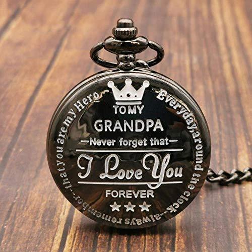 J-Love Personalizado a mi Abuelo, Relojes de Bolsillo con Cadena para Abuelo, cumpleaños, Regalos, Reloj con Colgante, Collar, Reloj