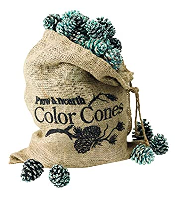 Fireplace and Firepit Color Cones, Festive Fun Rainbow Flame Changing Pine Cones, Firepit Campfire Hearth Wood Burning Accessories for Holidays or Anytime (6 LB in Burlap Bag) by Plow & Hearth