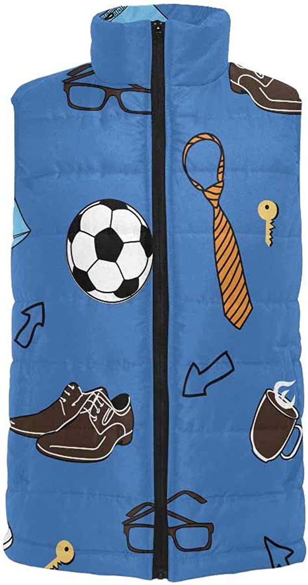 InterestPrint Men's Outdoor Casual Stand Collar Sleeveless Jacket Blue Background Football Pattern
