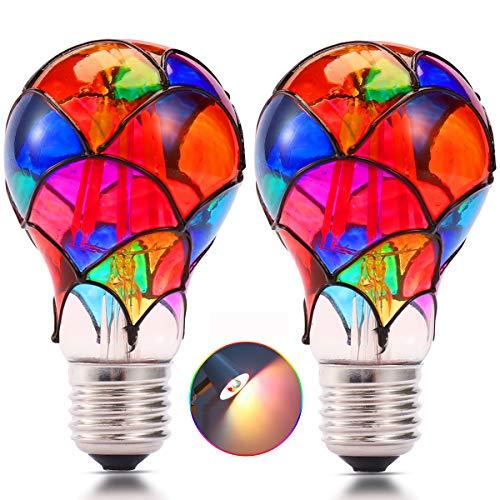 Farbglas LED Glühbirne, 3.5W 2700k 230V E27 Filament LED Lampen, nicht dimmbar, geeignet für Party, Garten,KTV Bühne Restaurant, Festivaldekoration Farbige Birne (2 pack A60 *105mm)
