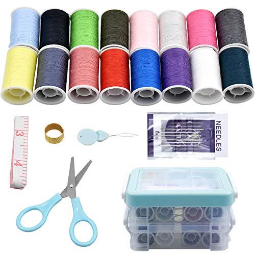 Kit de costura con 30 Pcs Accesorios de costura, Netspower Tres capas 16 colores Kit de...