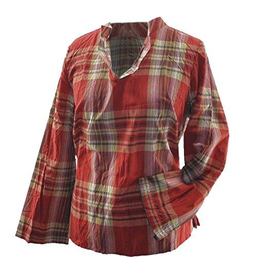 AdoniaMode Damen Tunika-Bluse Hemd Kariert Muster Langarm Crash Pflegeleicht Beige Rot Gr. 42