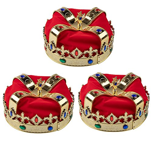 Royal King and Queen Jeweled Gold Crown, Adult Party Hats, Dress-Up, Birthday Events (7.2 x 7.2 x 5.1 in., 3 Pack)