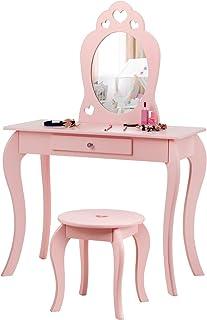 DREAMADE Coiffeuse Princesse pour Enfant avec Tabouret, Table de Maquillage pour Enfant avec Miroir Amovible et Tiroir, po...