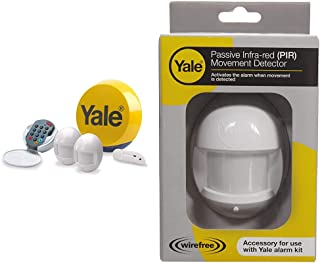 Yale YES-ALARMKIT Essentials Alarm Kit, Battery Powered, 5 Piece Kit, Self Monitored, No Contract, Wireless, PIR Movement ...