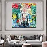 KWzEQ Colorido Elefante póster Indio Animal Lienzo Cuadro decoración del hogar Sala Cartel,Pintura sin Marco,30x30cm