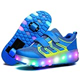 SSCYHT Roller Shoes LED Light Up Skate Sneaker Shoes for Boys Girls Kids Wheel Shoes with Wheels Surface de Maille Confortable,Bleu,34