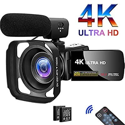 Camcorder Video Camera 4K 30MP Digital Camcorder Camera with Microphone Ultra HD Vlogging Camera with Remote Control Rotatable 3.0 in Touch Screen by SAULEOO
