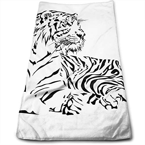 Towels Multi-Purpose Microfiber Soft Fast Drying Travel Gym Home Hotel Office Washcloths African Wilderness Theme with Safari Animal Sitting Nobility Tattoo Art,27.5 inch X15.7Inch