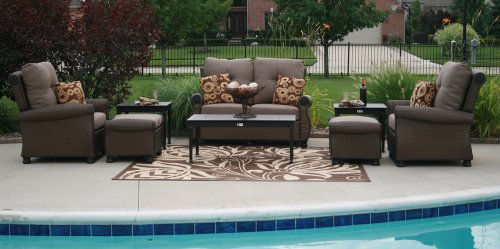 Big Sale The Giovanna Collection All Weather Wicker/Cast Aluminum Patio Furniture Deep Seating Set With Loveseat